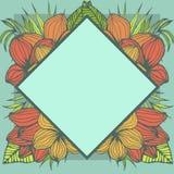 Quadro tropical geométrico, projeto de espaço natural da cópia com flores do plumeria e folhas de palmeira ilustração do vetor