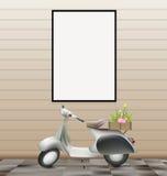 Quadro vazio branco no conceito retro romântico da parede e do 'trotinette' Imagens de Stock Royalty Free