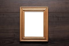 Quadro vazio com espaço da cópia na parede de madeira Fotos de Stock Royalty Free
