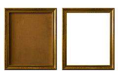 Quadro vazio da foto do vintage, quadro de madeira isolado no backgroun branco Imagens de Stock