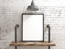 Quadro vazio do cartaz na parede industrial rústica branca Imagem de Stock Royalty Free
