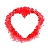 Quadro vazio do vetor, explosão vermelha dos confetes dos corações, forma do coração, partes de papel, ilustração festiva do casa ilustração do vetor