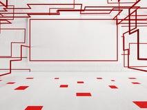 Quadro vazio na parede, decoração vermelha Imagens de Stock Royalty Free