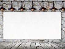 Quadro vazio no assoalho da parede de pedra e da madeira Imagens de Stock Royalty Free