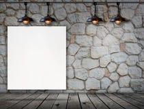 Quadro vazio no assoalho da parede de pedra e da madeira Imagem de Stock Royalty Free