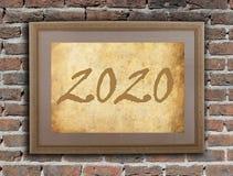 Quadro velho com papel marrom - 2020 Imagens de Stock Royalty Free