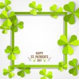 Quadro verde do trevo para o cartão do dia do ` s de St Patrick Imagens de Stock