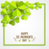 Quadro verde do trevo para o cartão do dia do ` s de St Patrick Fotos de Stock Royalty Free