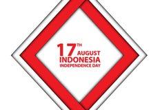quadro vermelho de Indonésia do 17o dia de August Independence na celebração branca do feriado do projeto Imagem de Stock
