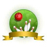 Quadro vermelho do círculo da fita do ouro da bola do boliches verde abstrato do fundo Fotos de Stock