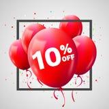 Quadro vermelho do disconto dos balões Conceito da VENDA para o comércio da propaganda da loja do mercado da loja 10% fora Discon ilustração stock