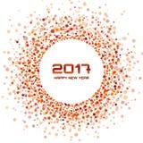 Quadro vermelho dos confetes do ano novo 2017 do círculo no fundo branco Imagens de Stock