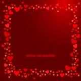 Quadro vermelho dos corações no fundo escuro do vinho Vetor Imagem de Stock Royalty Free