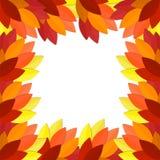Quadro vermelho e alaranjado com folhas, outono ilustração royalty free