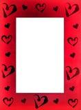 Quadro vermelho para a foto com corações Imagem de Stock