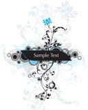 Quadro w floral e linhas Imagens de Stock Royalty Free