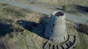 Quadrocopter above old mill stock footage