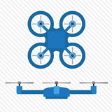 Quadrocopter blue top and side views on a light background Stock Photos
