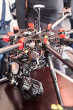 Quadrocopter with camera on table Stock Photo