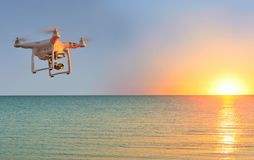 Quadcopter which shoots 4k video Royalty Free Stock Photos