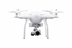 Quadrocopter, copter, drone. Unmanned aerial vehicle, drone on isolated background, quadrocopter designed for photo and video shooting. White quadrocopter camera royalty free stock image