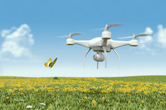 Quadrocopter drone with the camera Stock Photos