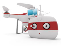 Quadrocopter drone. With the camera and Radio remote controller with smartphone preview Royalty Free Stock Photos