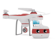 Quadrocopter drone with the camera and Radio remote controller w Stock Images
