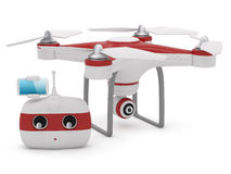 Quadrocopter drone with the camera and Radio remote controller w Stock Image