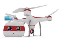 Quadrocopter drone with the camera and Radio remote controller w Royalty Free Stock Images