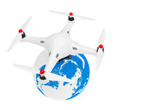 Quadrocopter Drone with Earth Globe. 3d Rendering. Quadrocopter Drone with Earth Globe on a white background. 3d Rendering Stock Photos