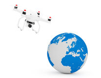 Quadrocopter Drone Flying Near Earth Globe. 3d Rendering. Quadrocopter Drone Flying Near Earth Globe on a white background. 3d Rendering Stock Photography