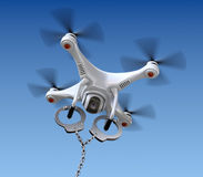 Quadrocopter drone with handcuffs Royalty Free Stock Photography