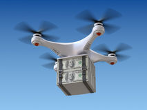Quadrocopter drone with the money Royalty Free Stock Photo