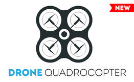 Quadrocopter drone vector icon. Flight controlled security quadrocopters helicopter. Royalty Free Stock Image