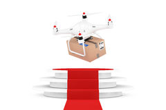 Quadrocopter Drones with Parcel over Round White Pedestal with S. Teps and a Red Carpet on a white background. 3d Rendering Stock Photography