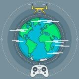 Quadrocopter e telecomando del fuco royalty illustrazione gratis