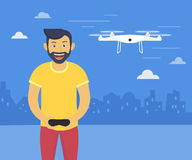 Quadrocopter launching fun illustration of youn smiling man drives flying drone Royalty Free Stock Photography