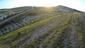 Quadrocopter mknący widok z lotu ptaka, zbieracki dane dla kartografów, Cypr zdjęcie wideo