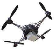 Quadrocopter with plastic container Royalty Free Stock Images