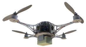 Quadrocopter with plastic container Stock Photos