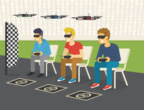 Quadrocopter racing competition new sport. Flat illustration of three guys wearing glasses to control drones via remote console Royalty Free Stock Photo