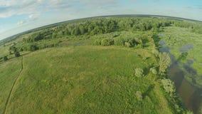 Quadrocopter, volando sobre un prado hermoso Un río fluye a lo largo del prado Hay muchos árboles y arbustos en la distancia suma metrajes