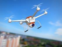 Quadrocopter z kamerą Zdjęcia Stock