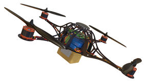 Quadrocopter z plastikowym zbiornikiem royalty ilustracja