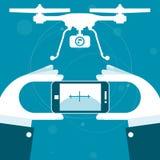 Quadrocopterafstandsbediening van smartphone Stock Afbeelding