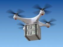 Quadrocopterhommel met het geld Royalty-vrije Stock Foto