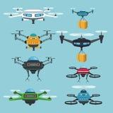 Quadrocopters e zangões ajustados do fundo da paisagem do céu ilustração stock