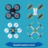 Quadrocopters-Ikonen flach Stockfotos