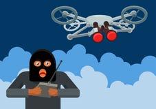 Quadrocopters ilegales de la vigilancia stock de ilustración